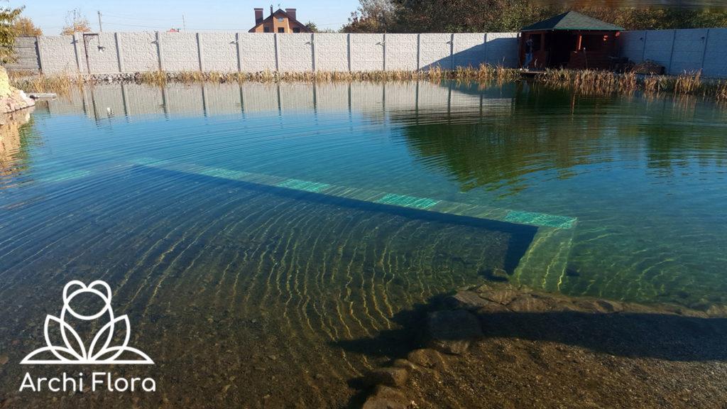 Пляжная зона в большом пруду в Харькове