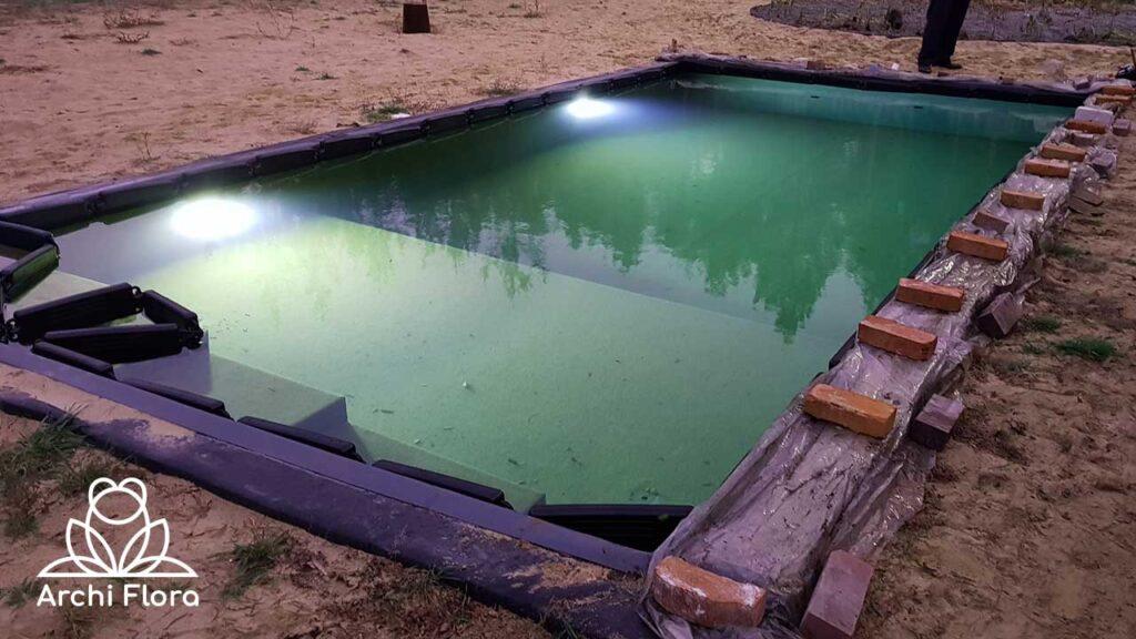 Бассейн на даче во время подготовки на зиму фото
